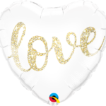 Love Glitter Gold 18 Inch Heart Shape Front 86A57322