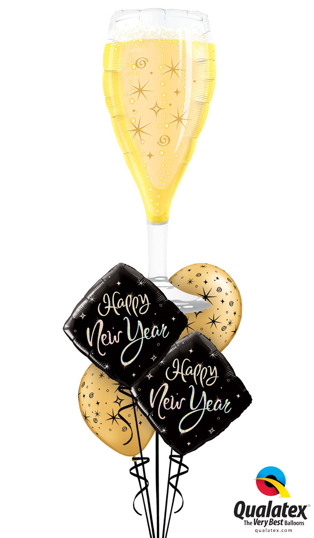 Bubbly Wine Happy New Year Balloons