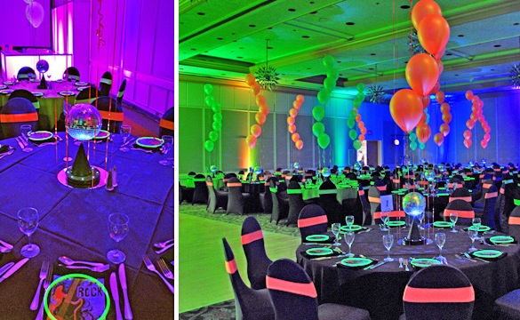 Neon balloon centerpiece the tickle trunk kelowna for Balloon decoration for corporate events