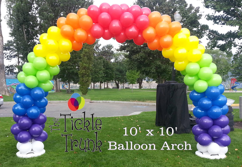 Balloon arch rainbow logo lr the tickle trunk kelowna for How to make a rainbow arch