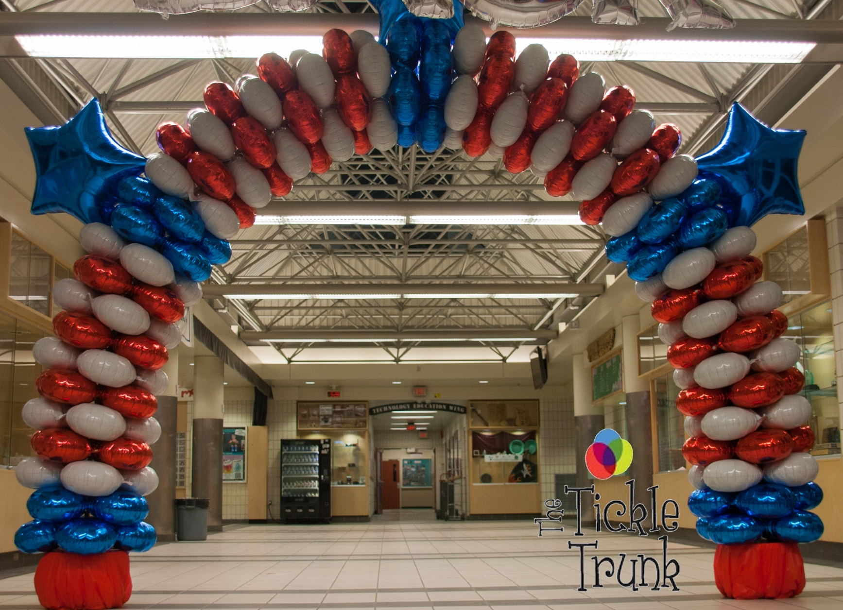 Mylar Balloon Arch magic arch balloon arch red white blue with stars The Tickle
