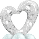 Giant Silver Heart Balloon Bouquet Med Classic 16304 18641